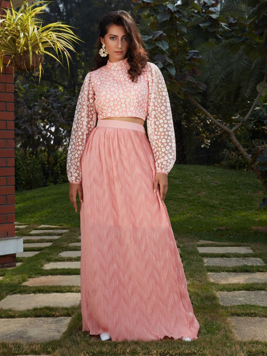 Pink Floral Imported Indo Western Ready To Wear Skirt With Crop Top