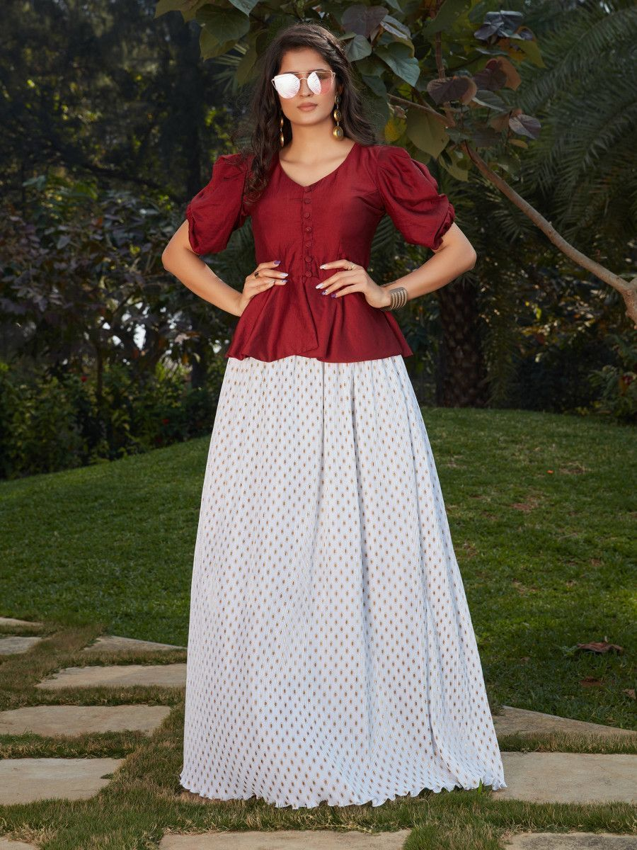 White-Maroon Imported Indo Western Ready To Wear Skirt With Crop Top