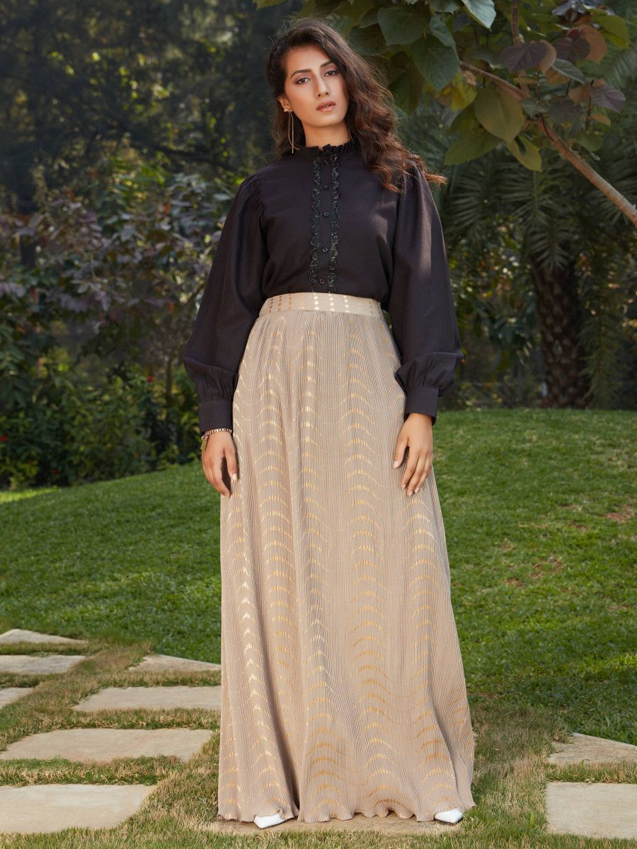 Black-Cream Imported Indo Western Ready To Wear Skirt With Crop Top