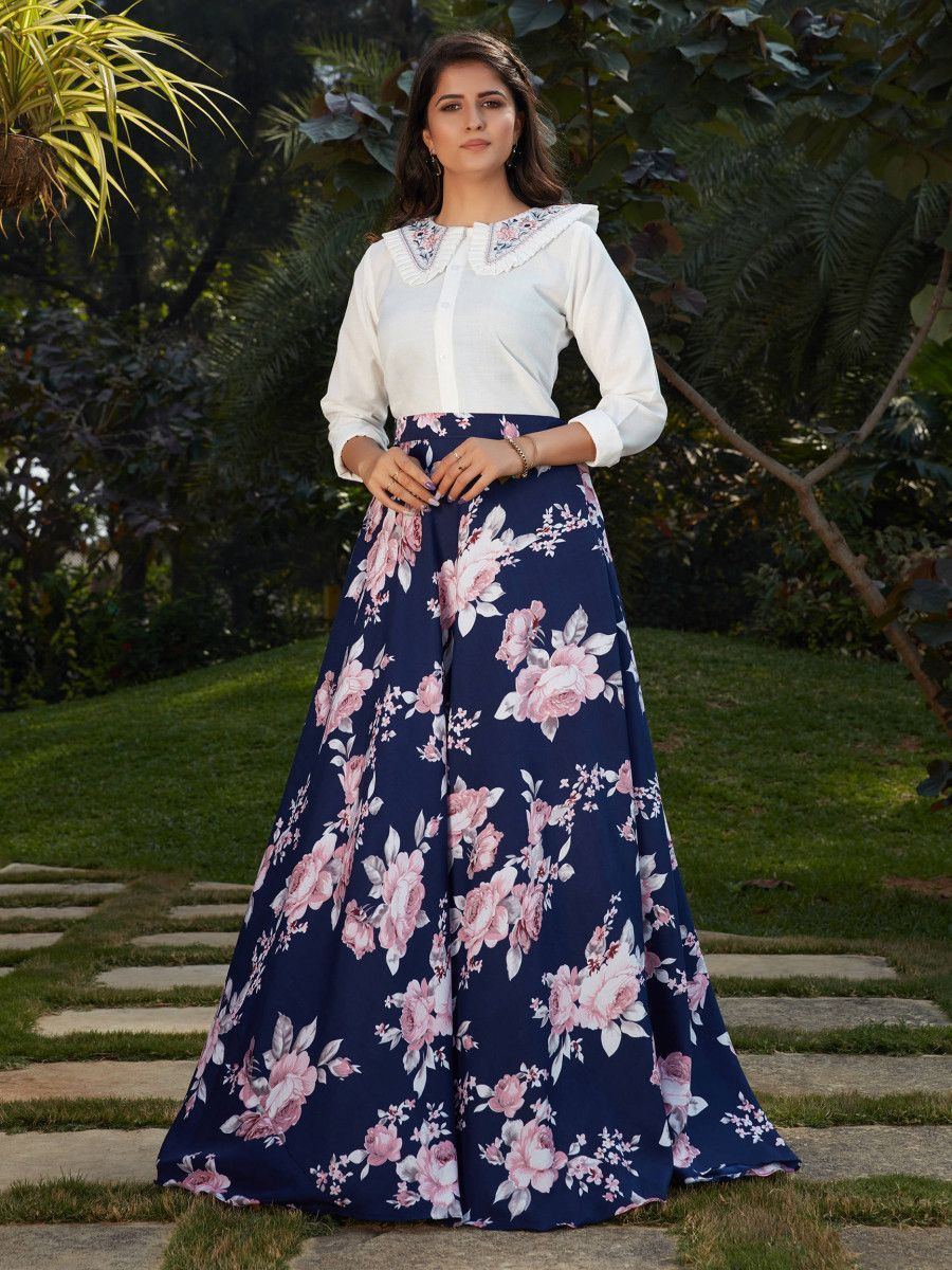 Blue Floral Crepe Indo Western Ready To Wear Skirt With Crop Top