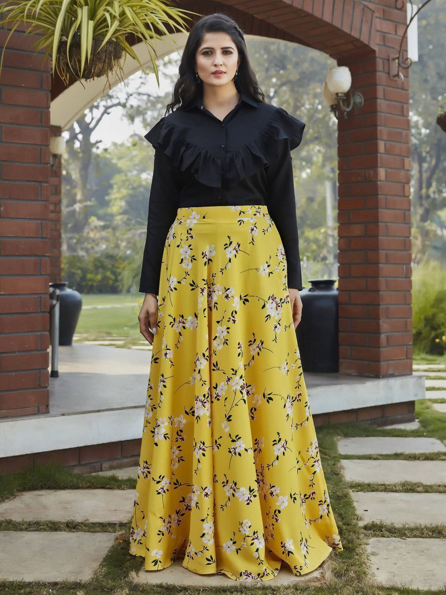 Yellow-Black Floral Crepe Indo Western Ready To Wear Skirt With Crop Top