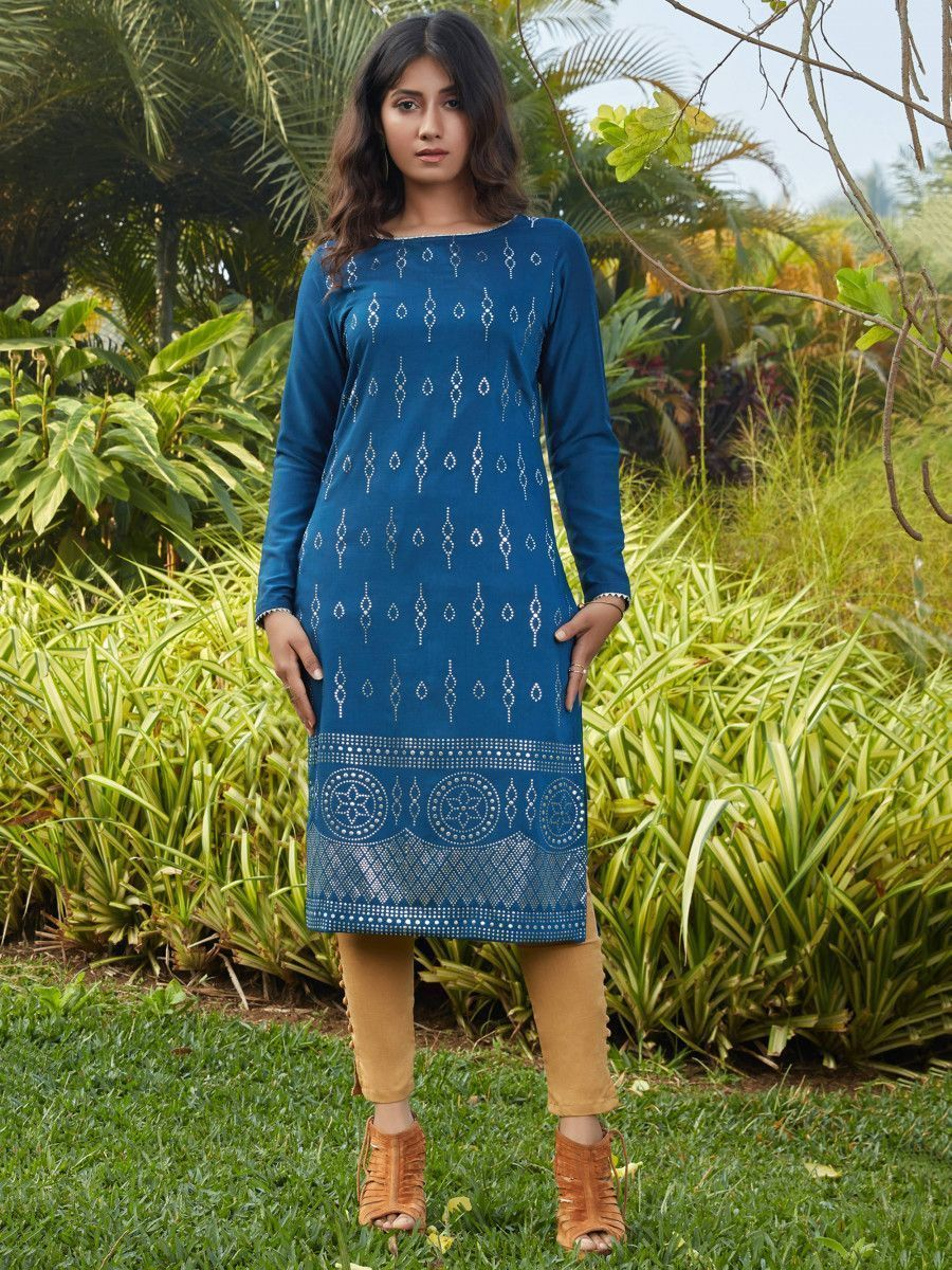 Teal Blue Mukaish Worked Cotton Readymade Kurti