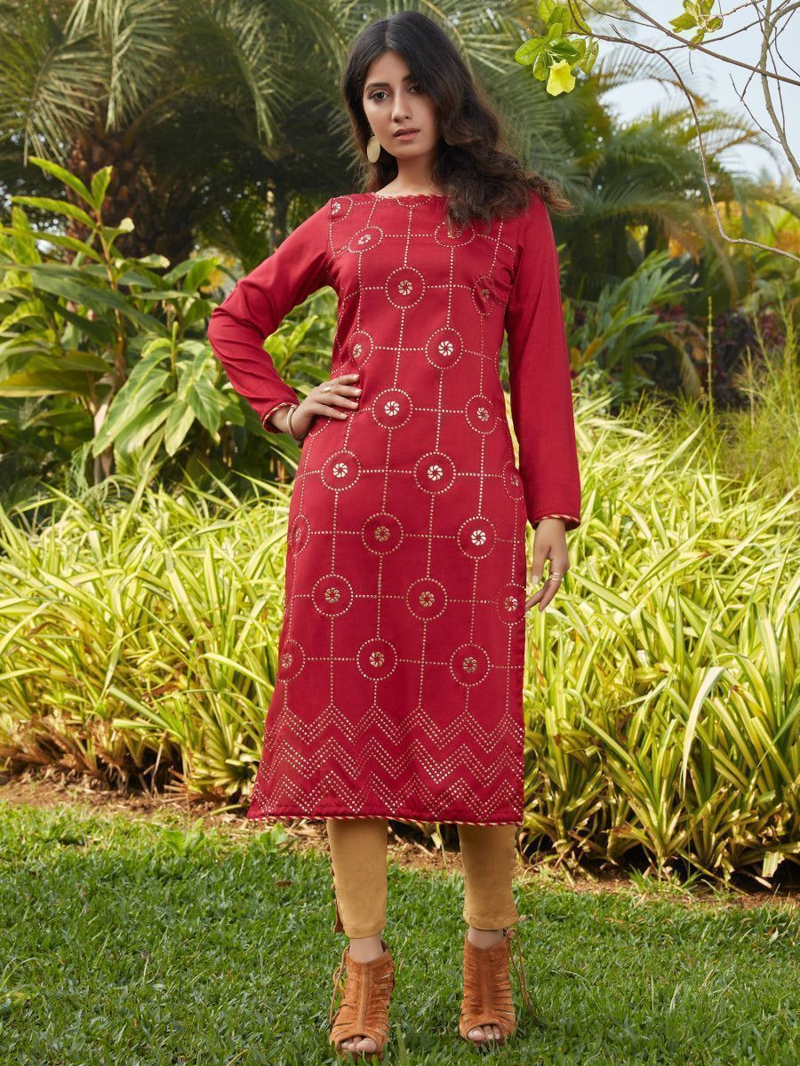 Red Mukaish Worked Cotton Readymade Kurti