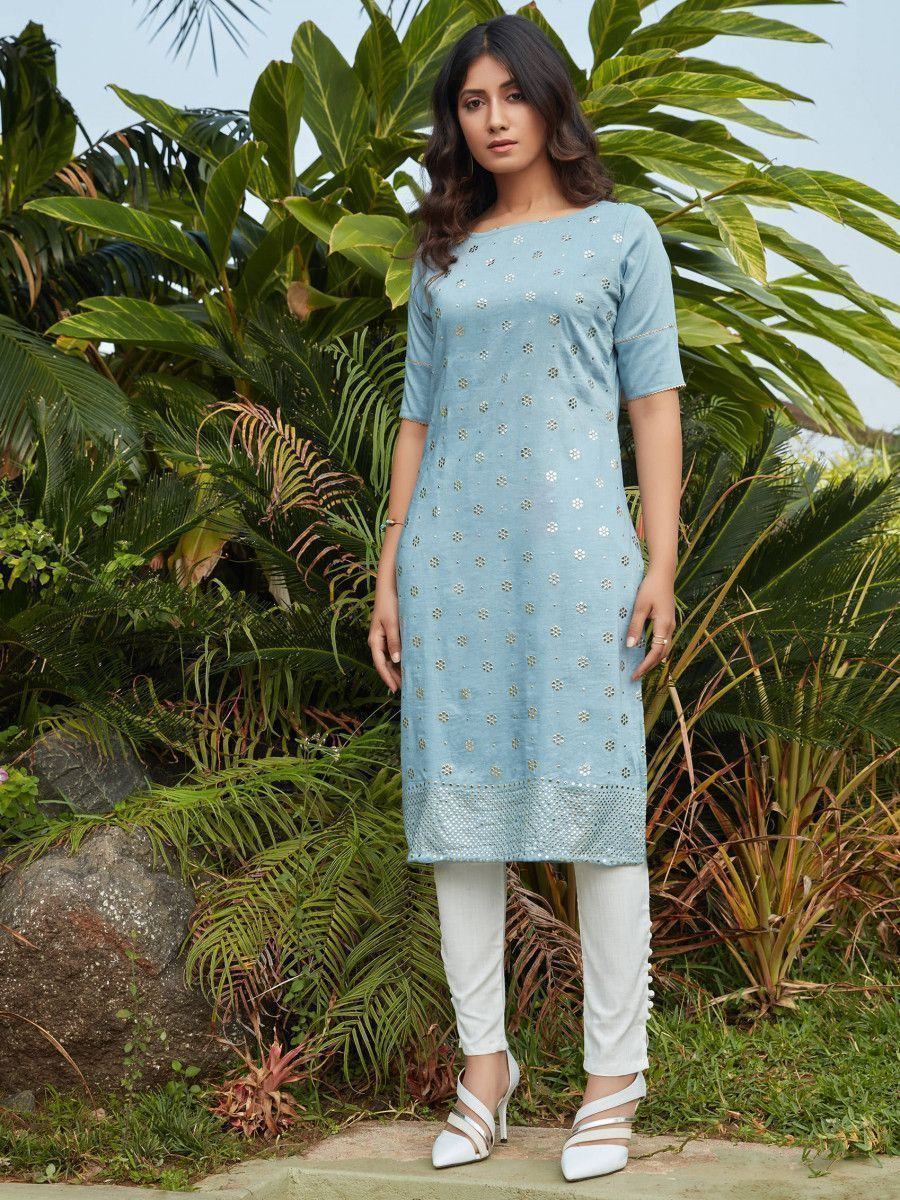 Sky Blue Mukaish Worked Cotton Readymade Kurti