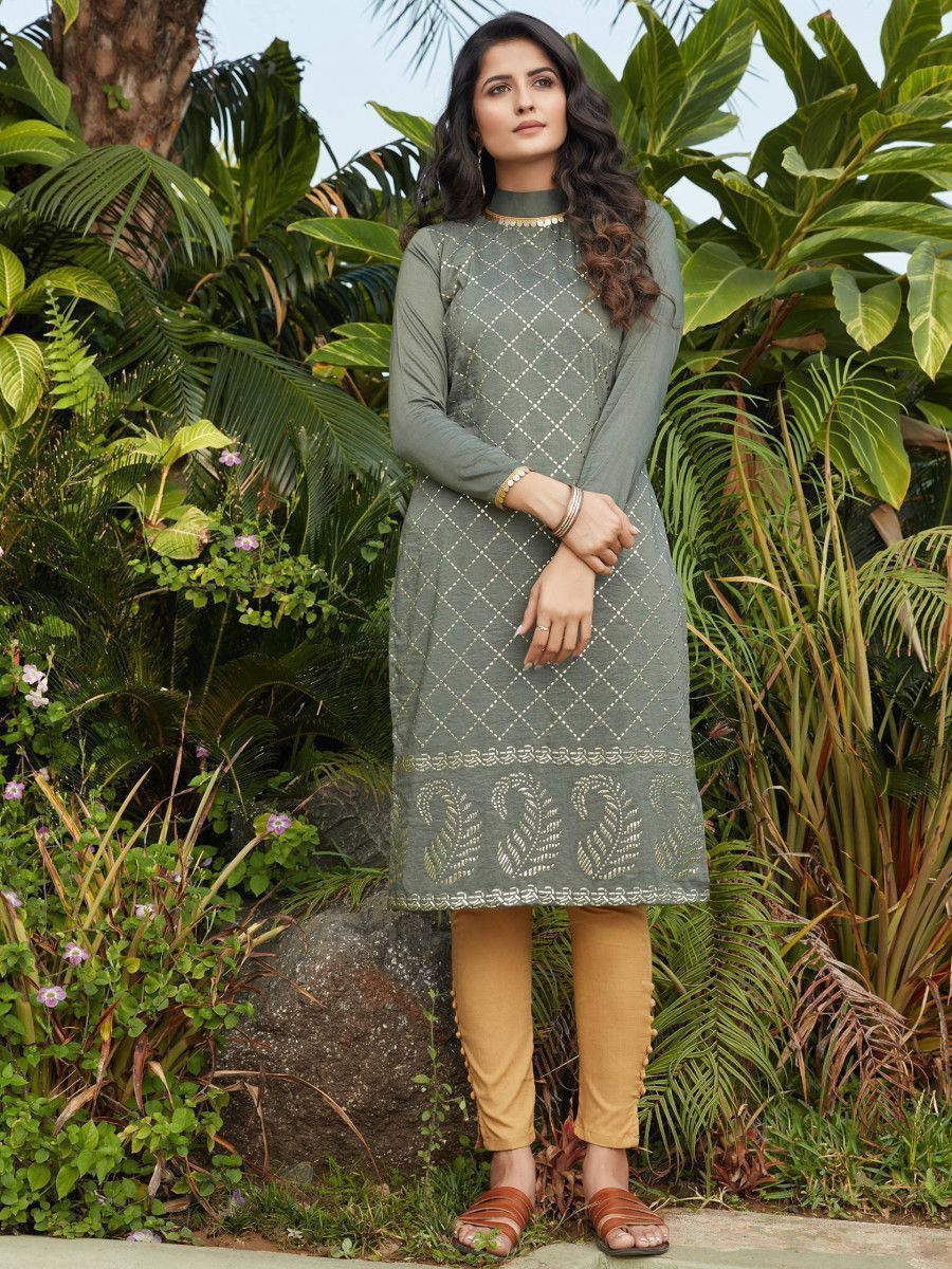 Olive Green Mukaish Worked Cotton Readymade Kurti