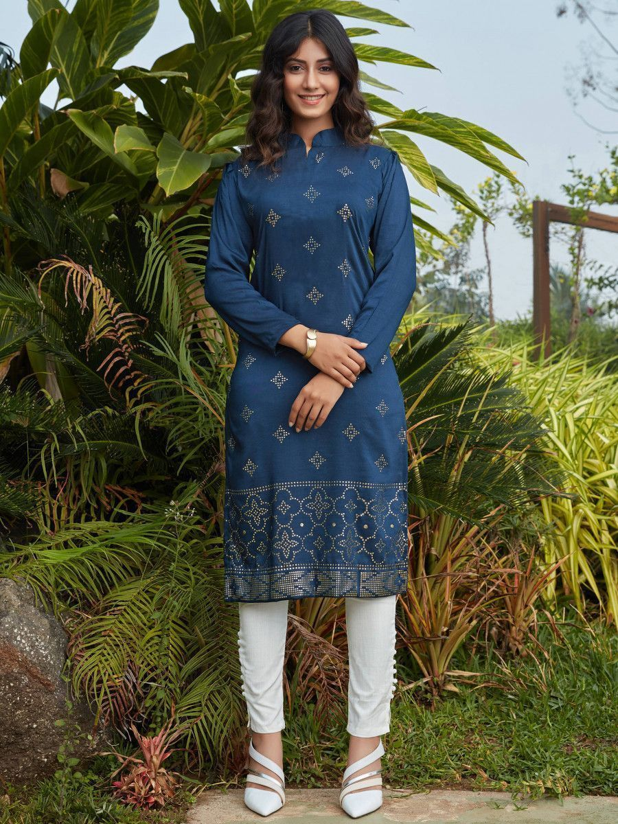 Navy Blue Mukaish Worked Cotton Readymade Kurti