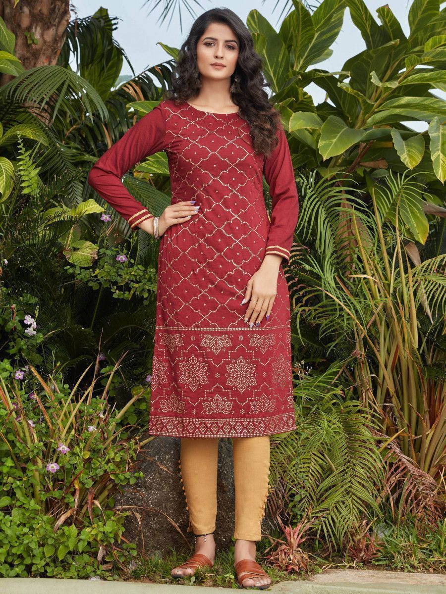 Maroon Mukaish Worked Cotton Readymade Kurti