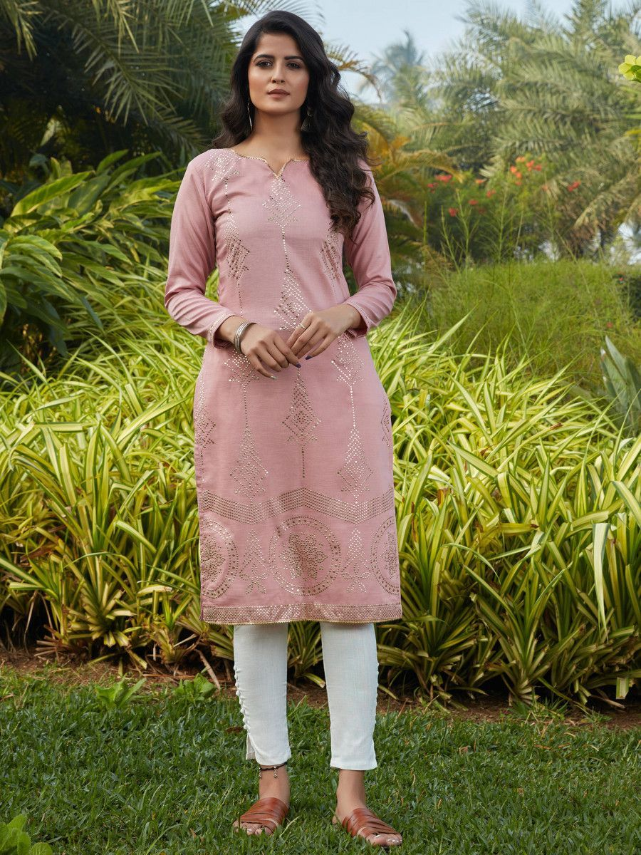 Pink Mukaish Worked Cotton Readymade Kurti