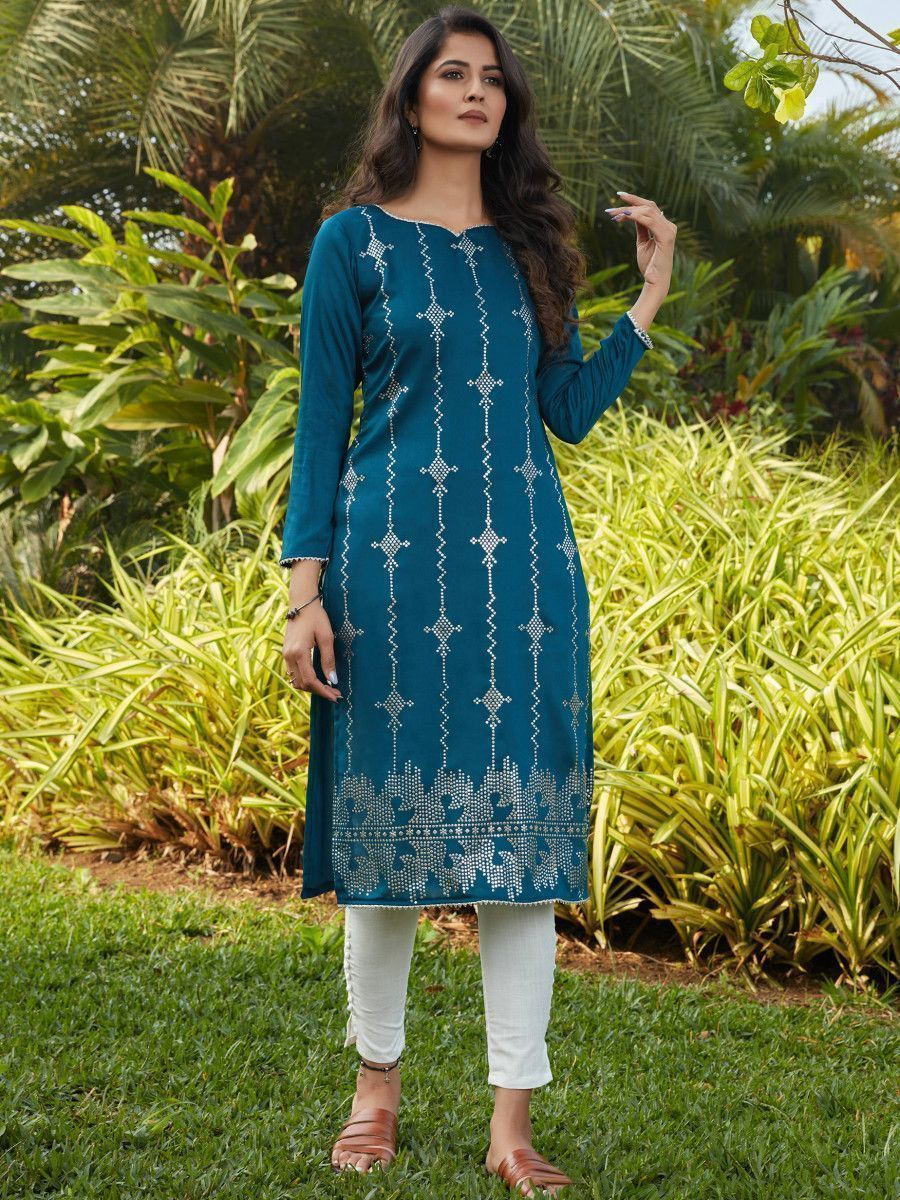 Rama Green Mukaish Worked Cotton Readymade Kurti