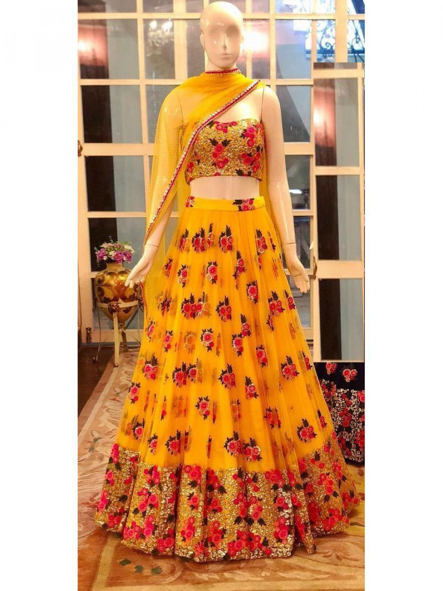 Yellow Sequins Net Wedding Lehenga Choli