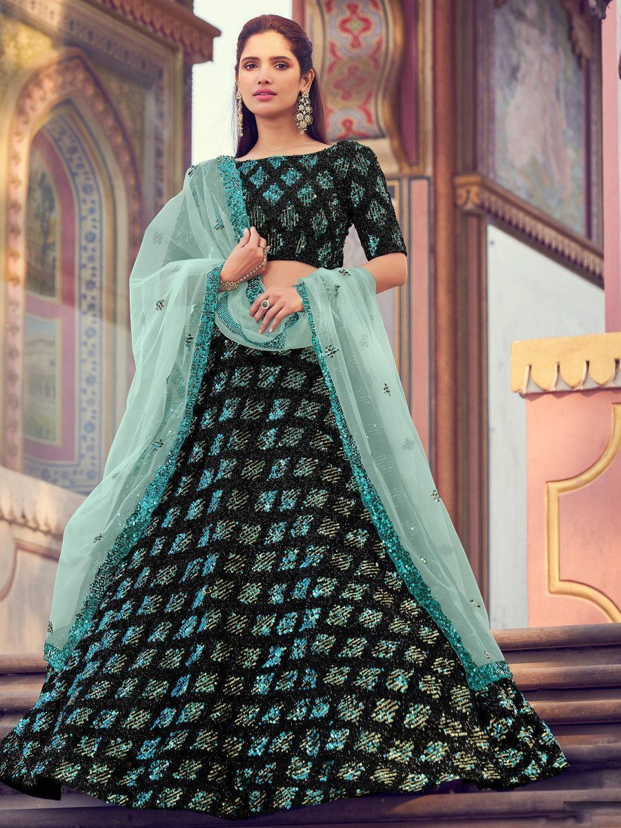 Green Fully Sequins Fur Party Wear Lehenga Choli