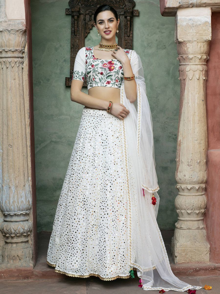 White Embroidered Georgette Party Wear Lehenga Choli