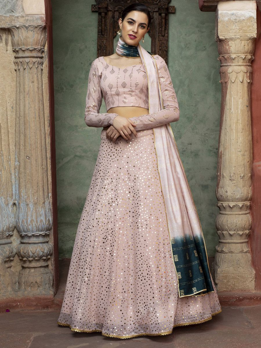 Dusty Pink Sequins Georgette Party Wear Lehenga Choli
