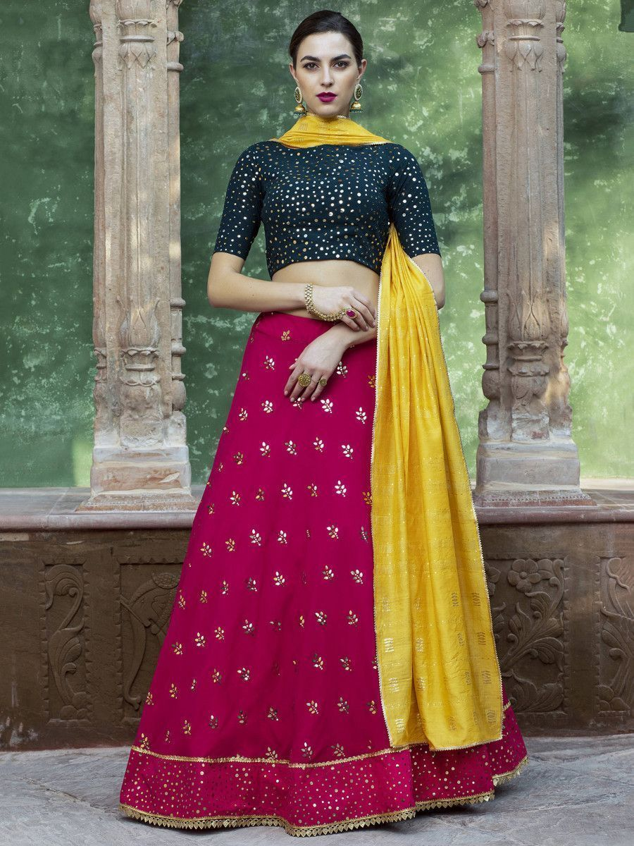 Hot Pink Sequins Georgette Party Wear Lehenga Choli