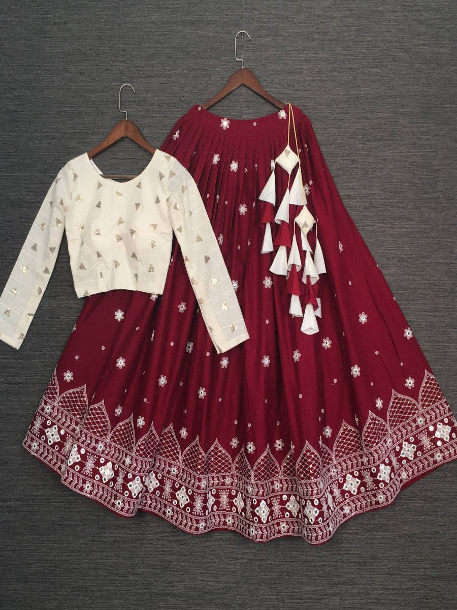 Maroon Embroidered Cotton Festive Lehenga With Readymade Crop Top