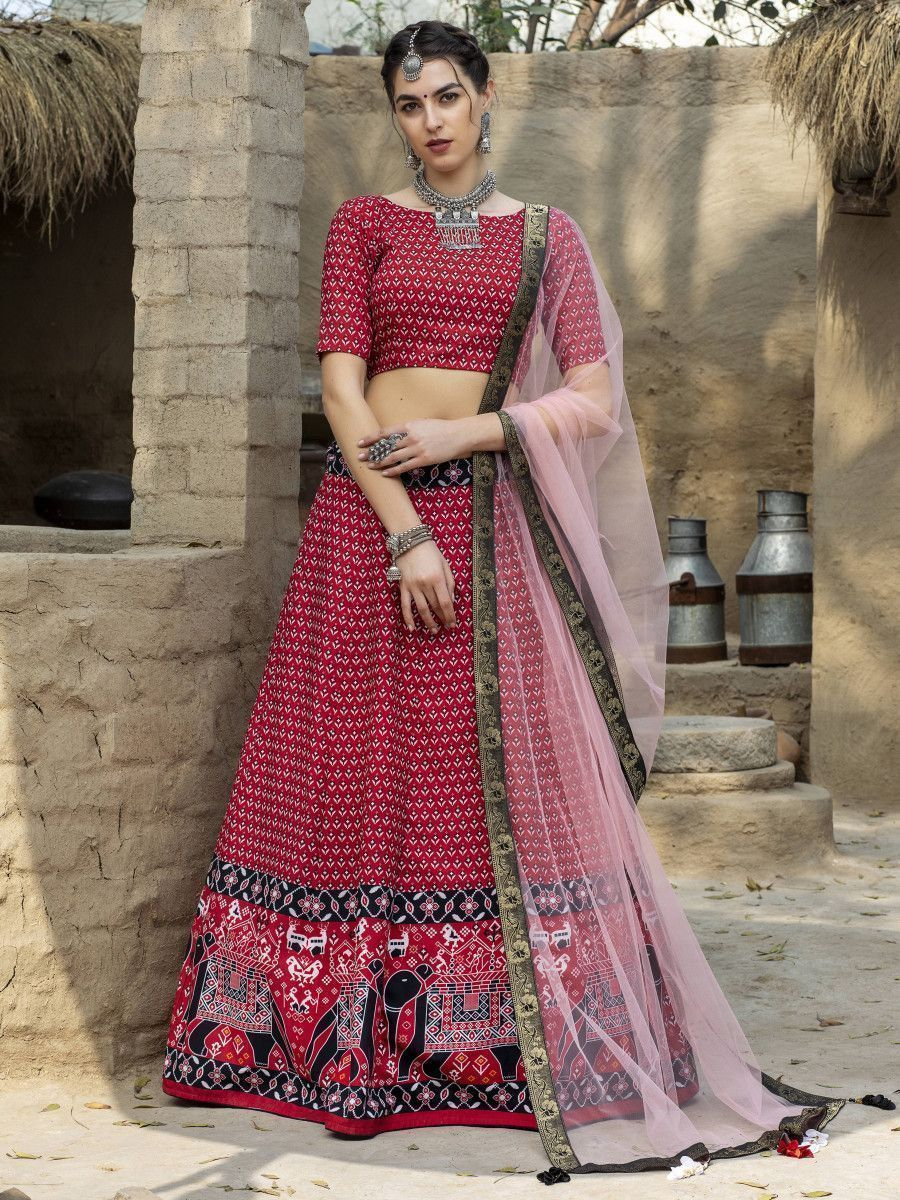 Red Printed Silk Traditional Lehenga Choli With Dupatta