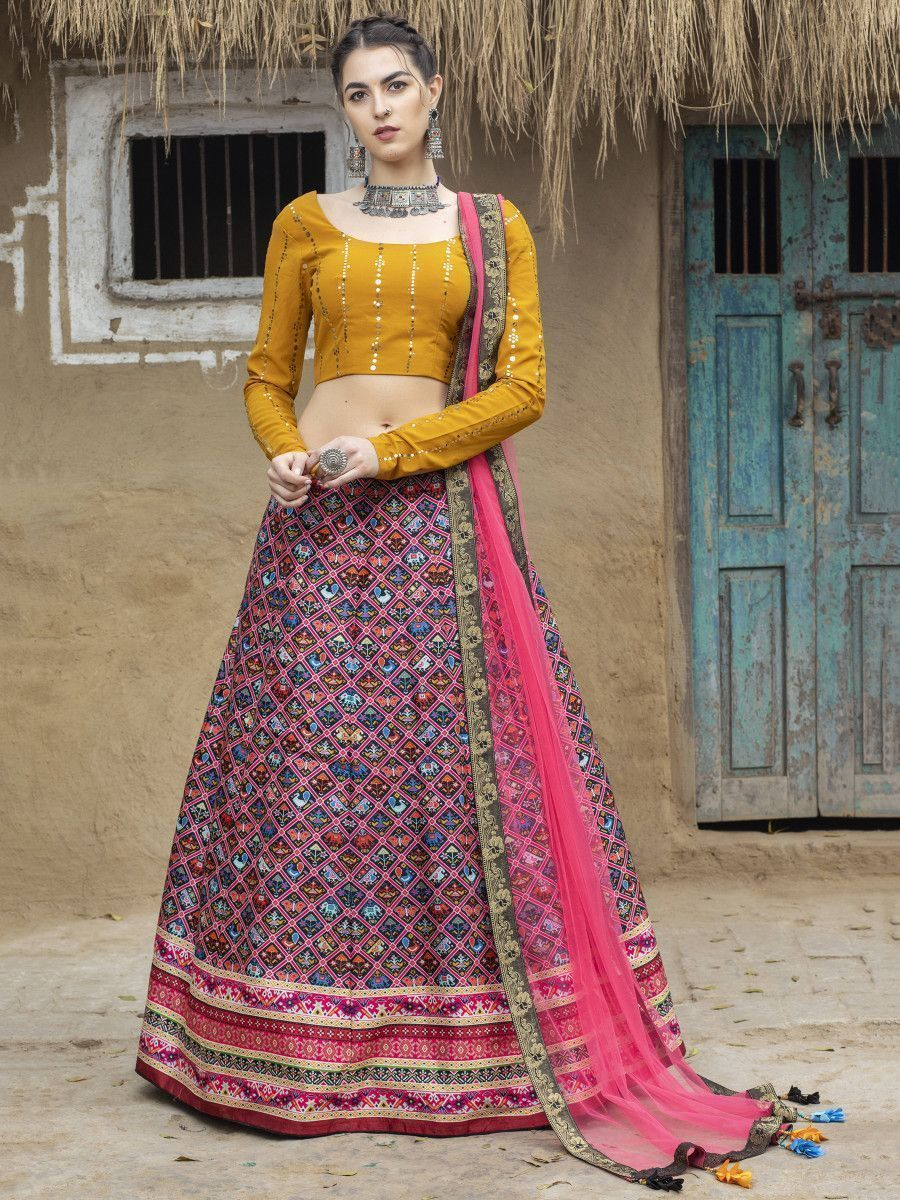 Pink Ikkat Printed Silk Traditional Lehenga Choli With Dupatta