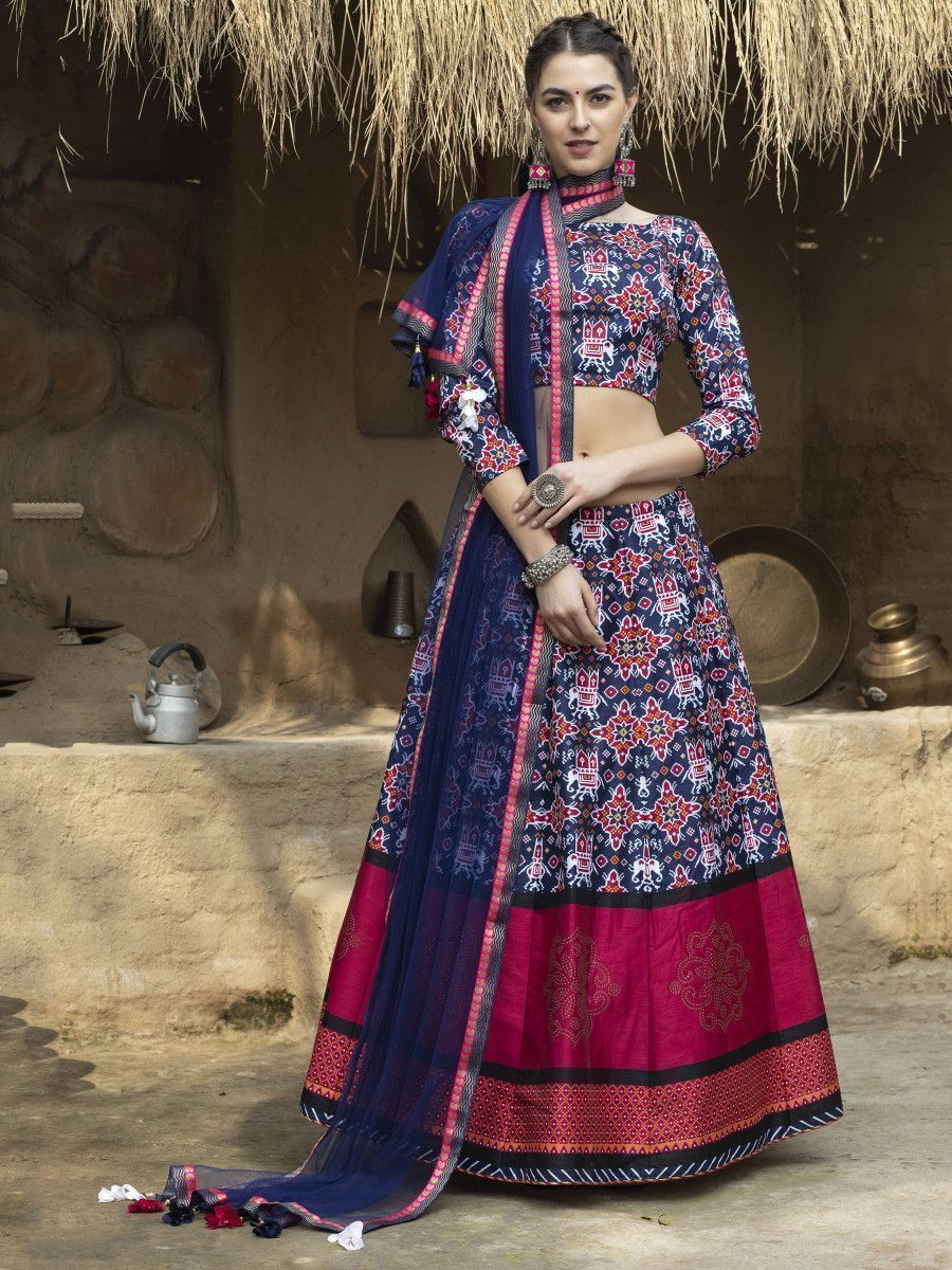 Navy Blue Ikkat Print Silk Traditional Lehenga Choli With Dupatta