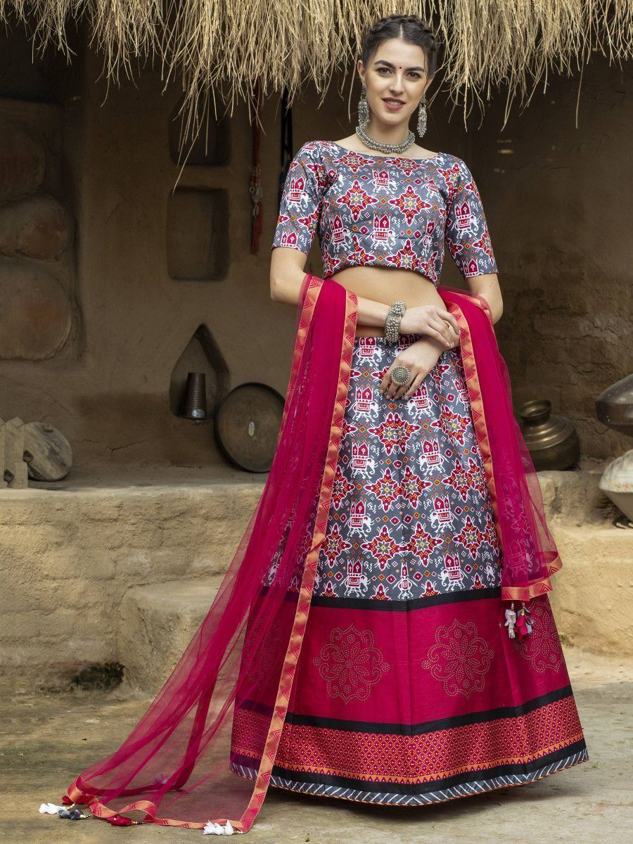 Grey Ikkat Print Silk Traditional Lehenga Choli With Dupatta