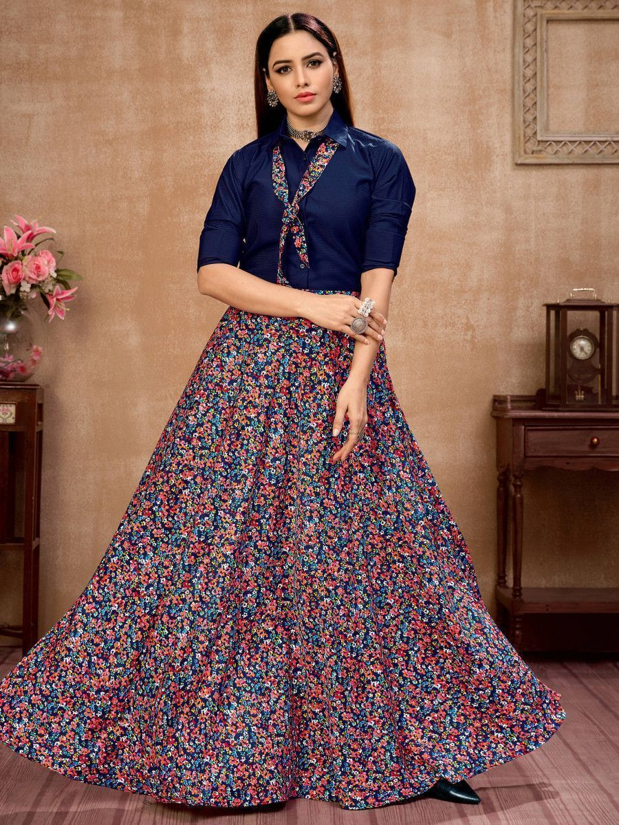 Navy Blue Floral Silk Indo-Western Ready To Wear Skirt With Shirt