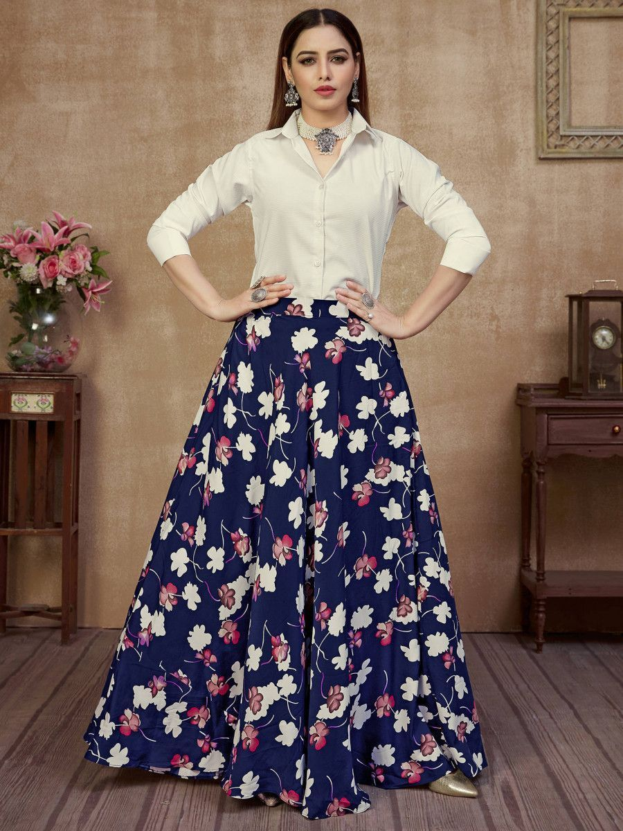 Blue & White Floral Silk Indo-Western Ready To Wear Skirt With Shirt