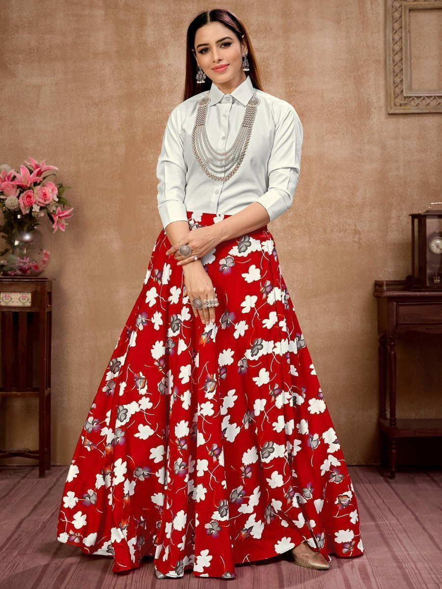 Red Floral Silk Indo-Western Ready To Wear Skirt With Shirt