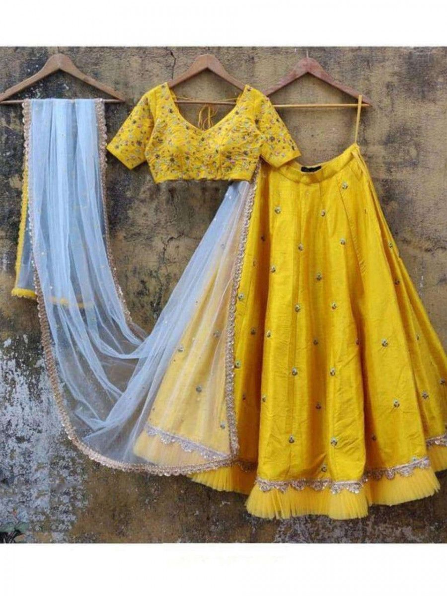 Yellow Embroidery Taffeta Silk Designer Lehenga Choli