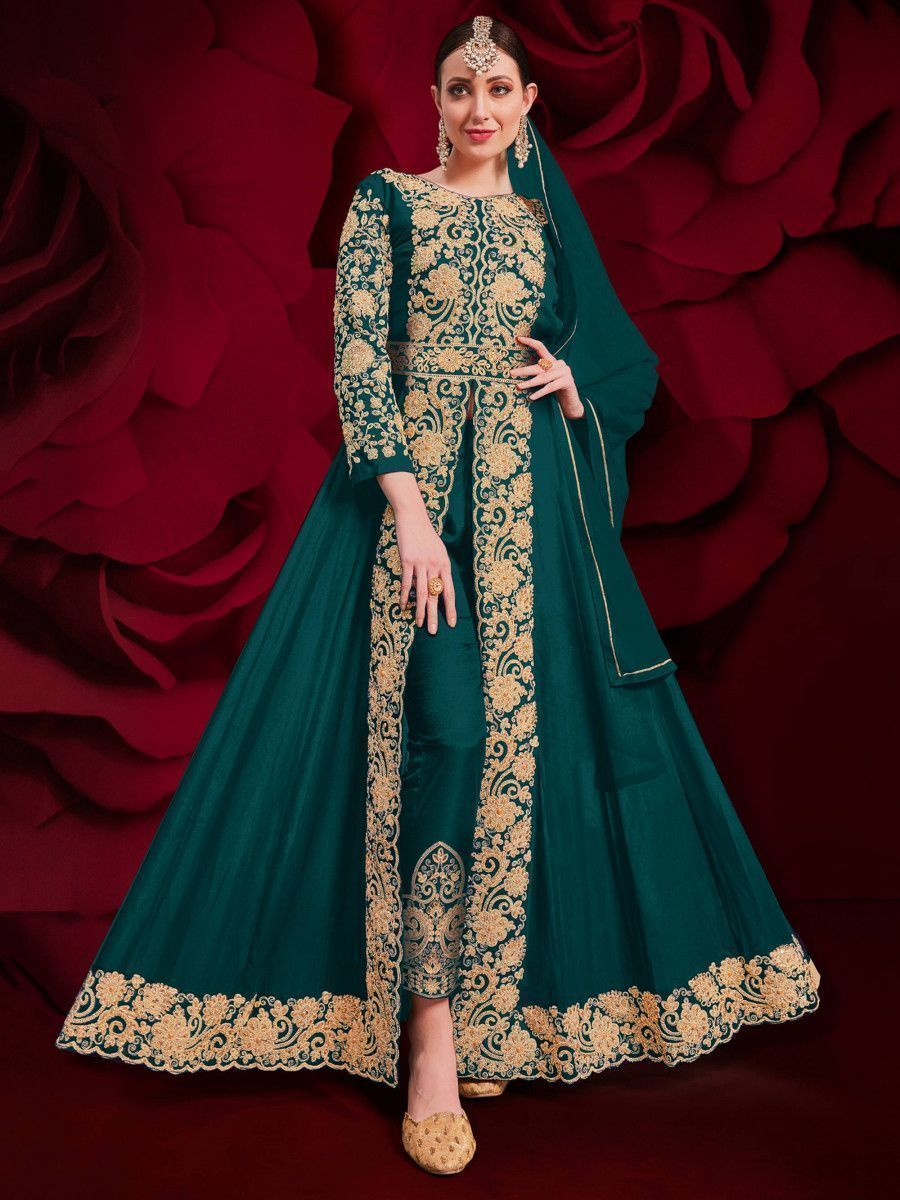 Teal Green Stone Embroidered Georgette Festive Pakistani Salwar Suit