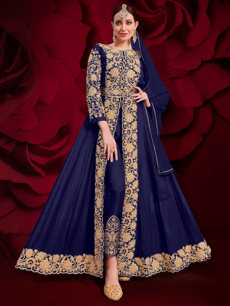 Navy Blue Stone Embroidered Georgette Festive Pakistani Salwar Suit