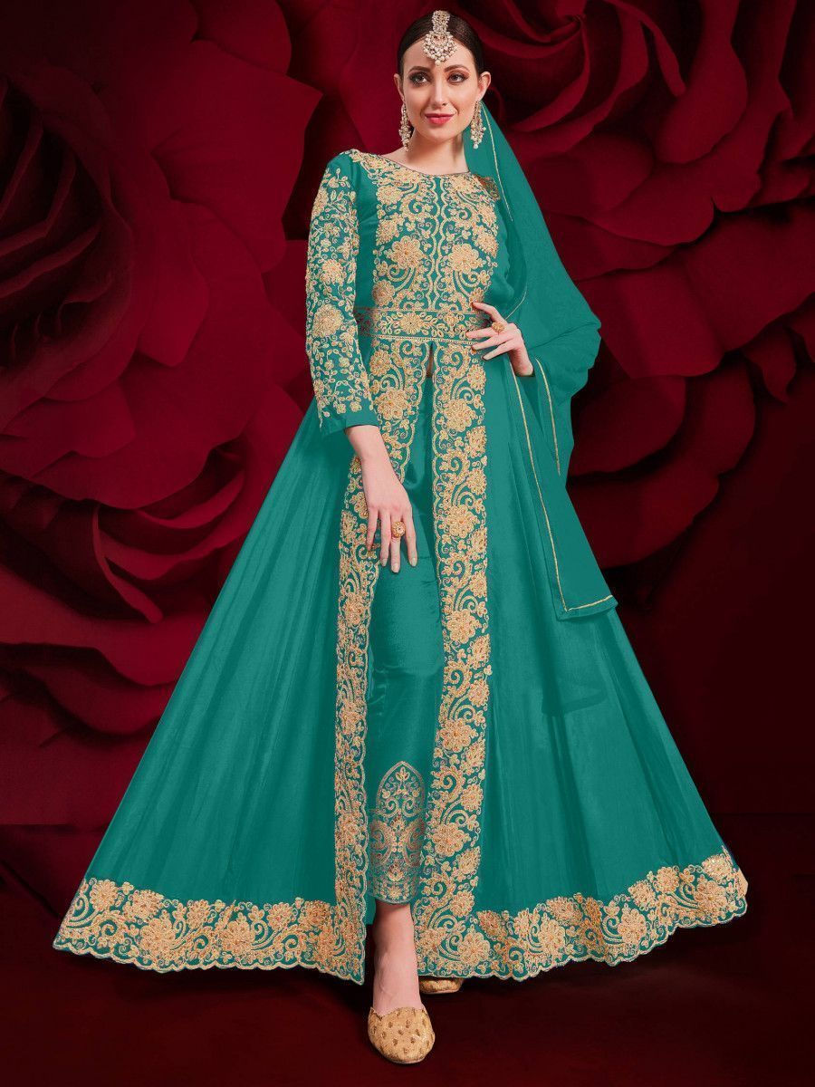 Light Green Stone Embroidered Georgette Festive Pakistani Salwar Suit