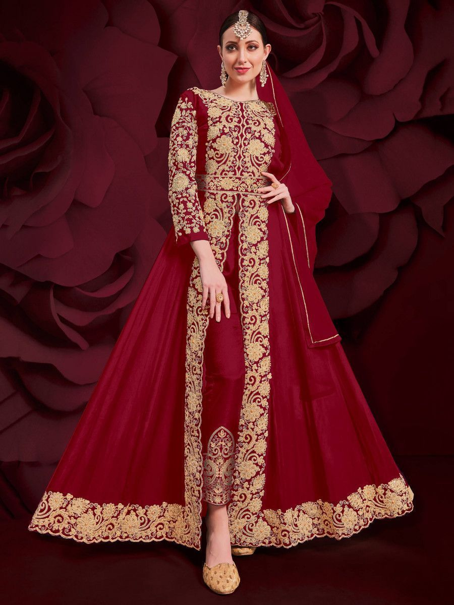 Red Stone Embroidered Georgette Festive Pakistani Salwar Suit