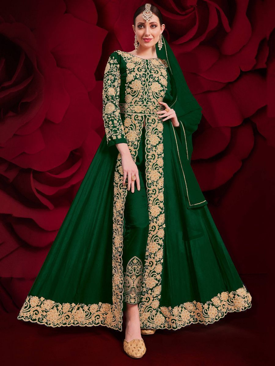 Green Stone Embroidered Georgette Festive Pakistani Salwar Suit