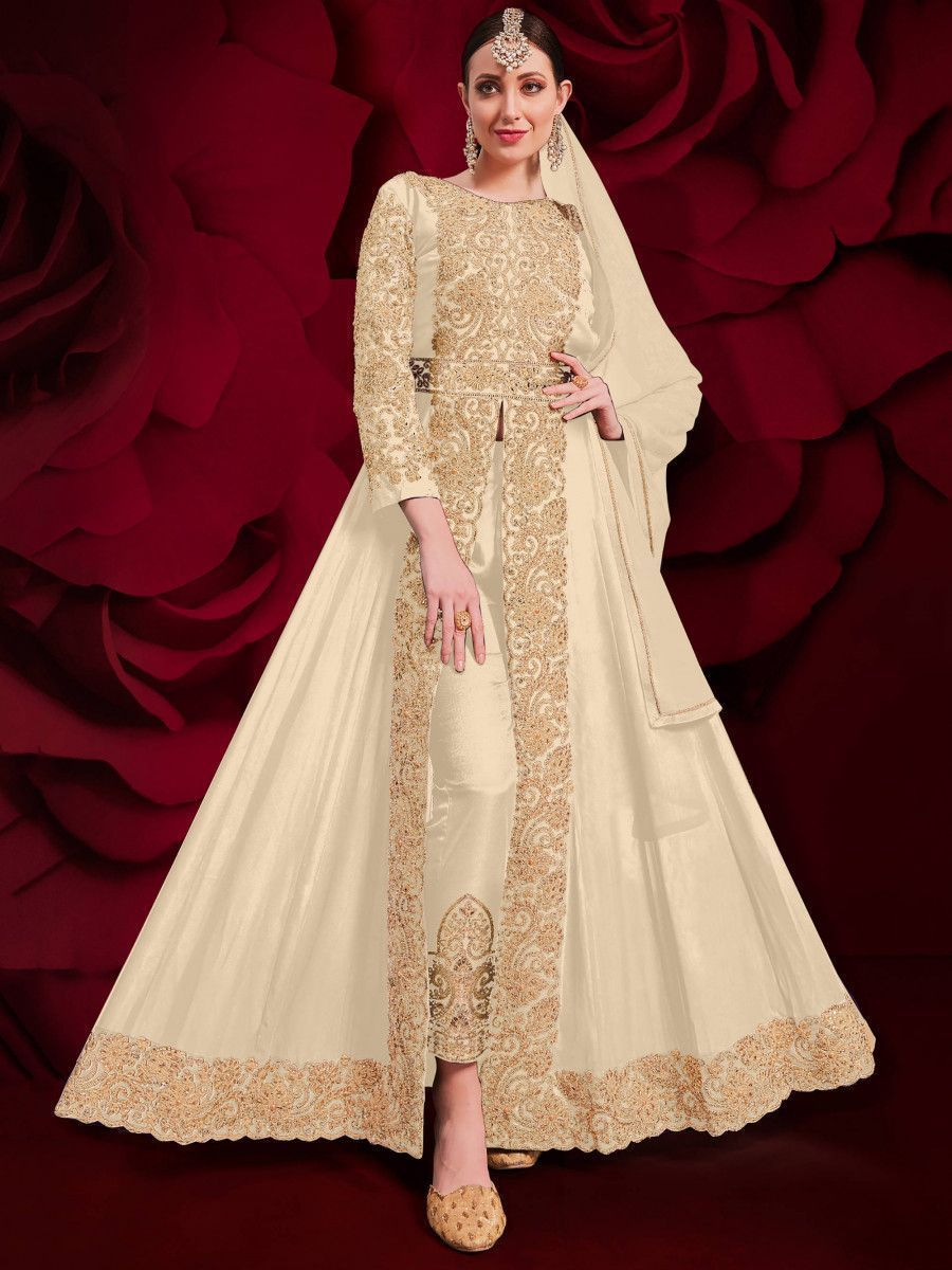 Cream Stone Embroidered Georgette Festive Pakistani Salwar Suit