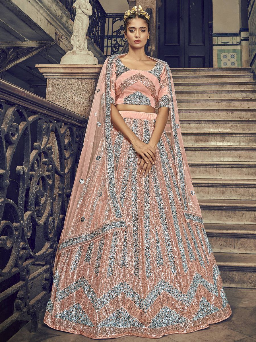 Peach Sequins Embroidered Net Party Wear Lehenga Choli