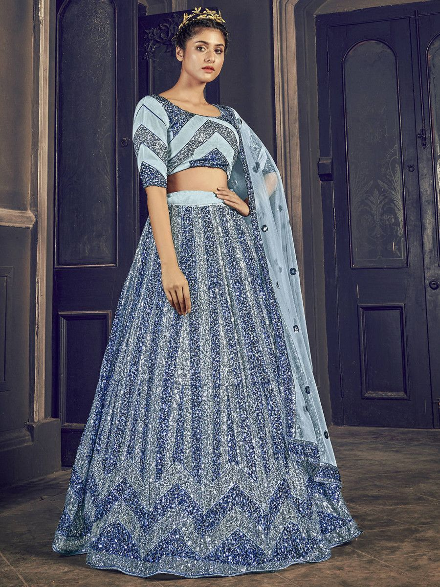Grey Sequins Embroidered Net Party Wear Lehenga Choli
