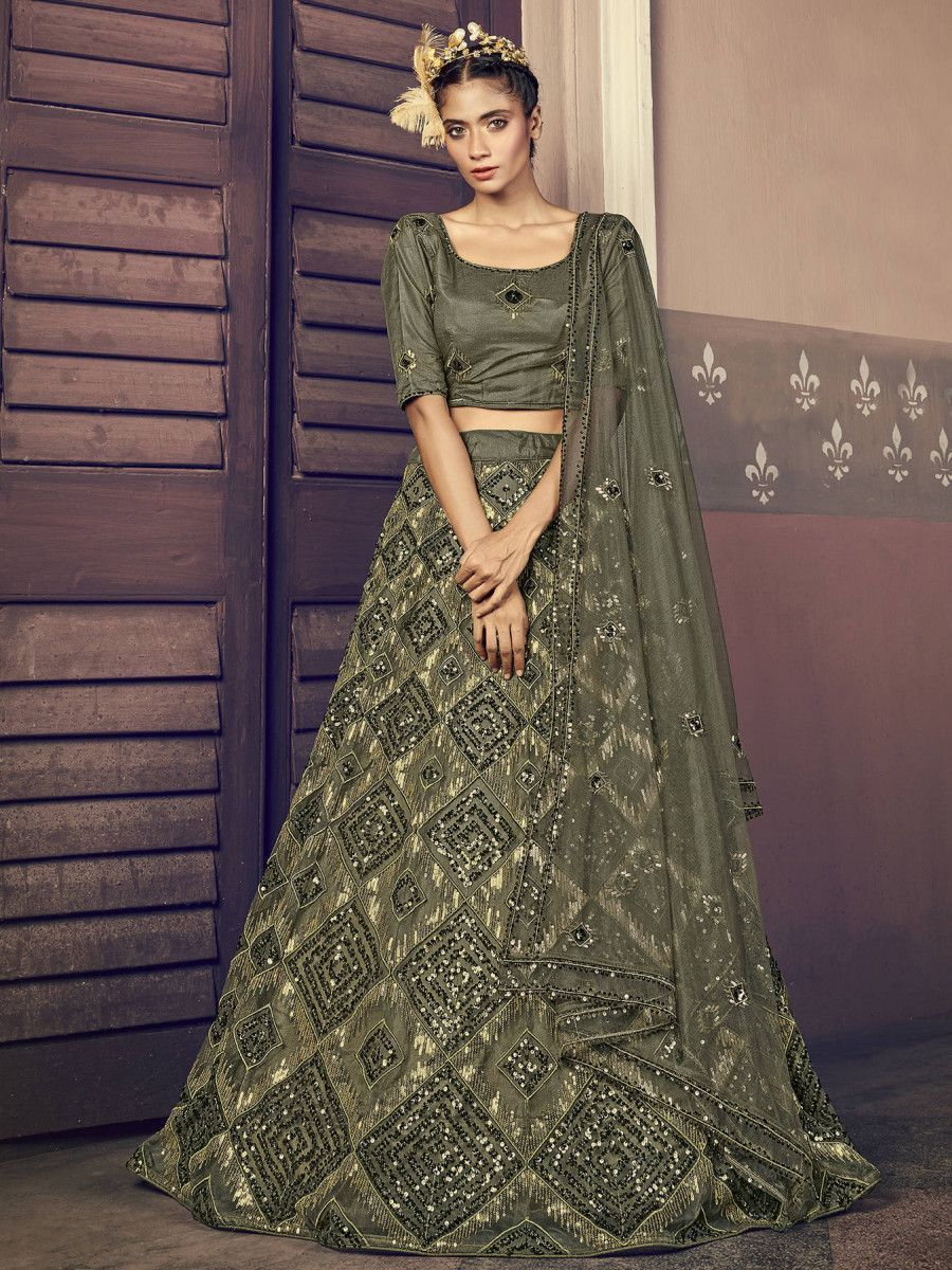 Olive Green Sequins Embroidered Net Party Wear Lehenga Choli