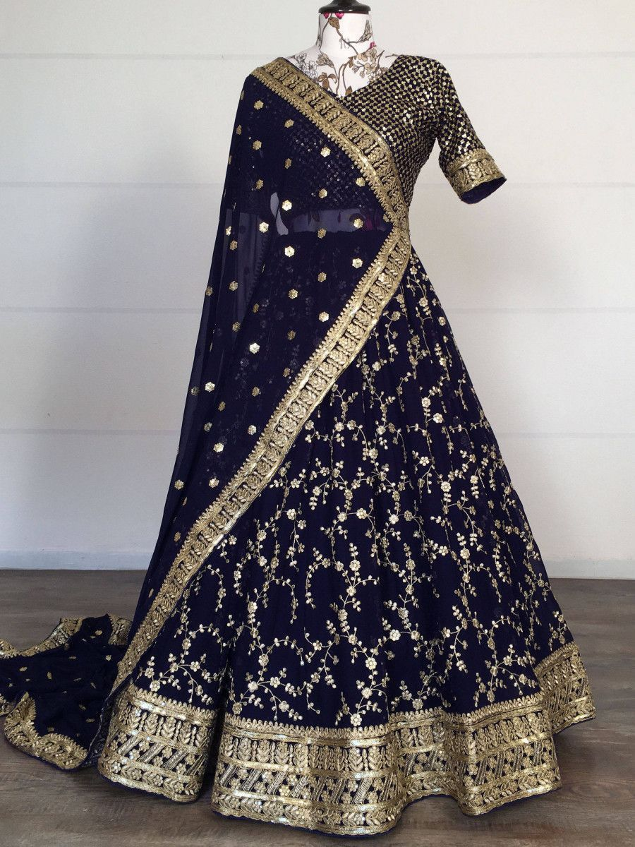 Dark Navy Blue Embroidered Georgette Wedding Lehenga Choli