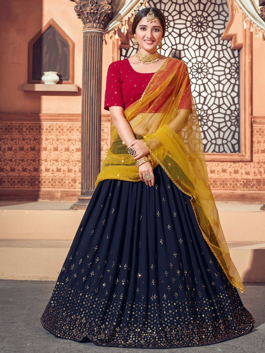 Navy Blue Thread Embroidered Georgette Party Lehenga Choli WIth Dupatta