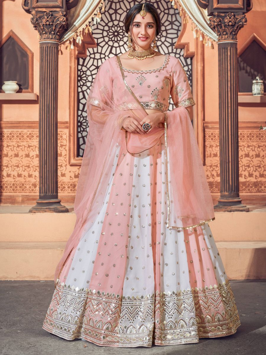 Pink-White Thread Embroidered Georgette Party Wear Lehenga Choli