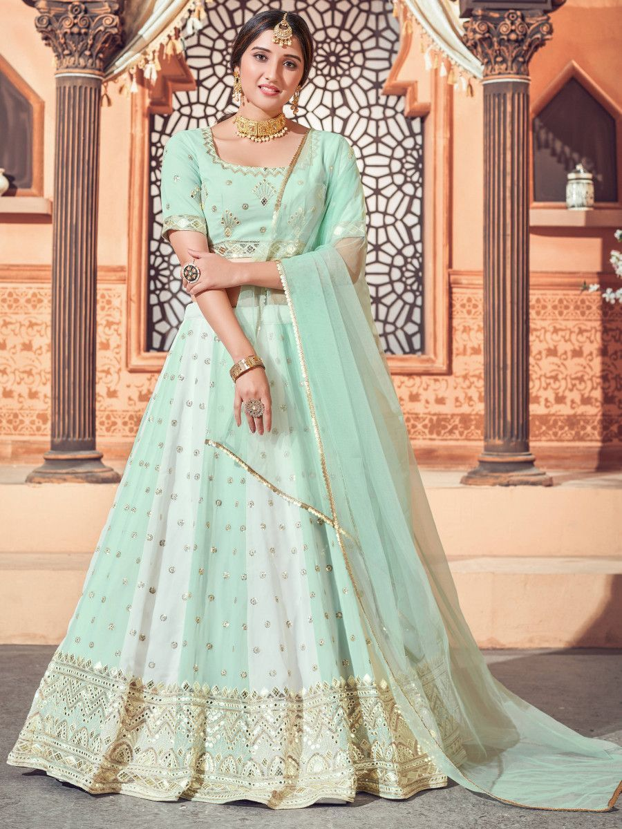 Pista Green Thread Embroidered Georgette Party Wear Lehenga Choli