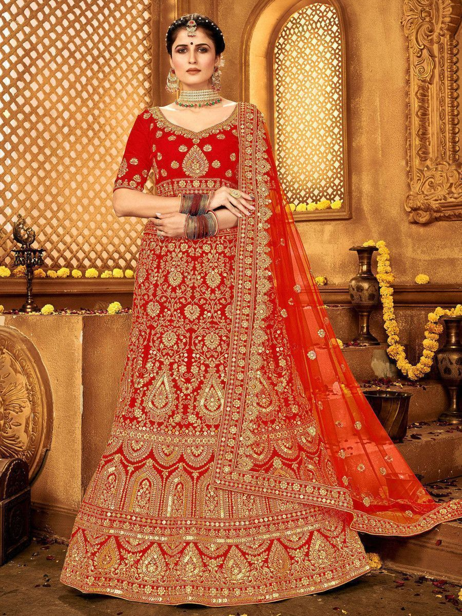 Red Zari Thread Embroidered Velvet Bridal Wear Lehenga Choli