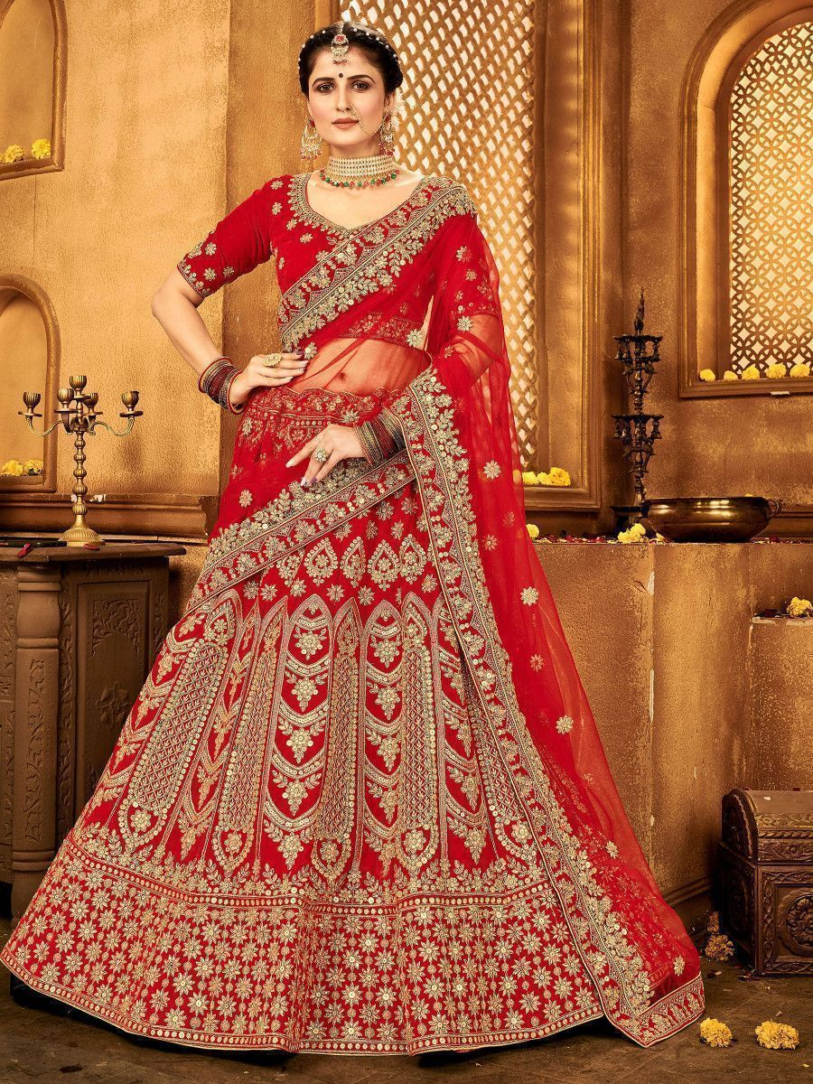 Red Zari Embroidered Velvet Bridal Wear Lehenga Choli