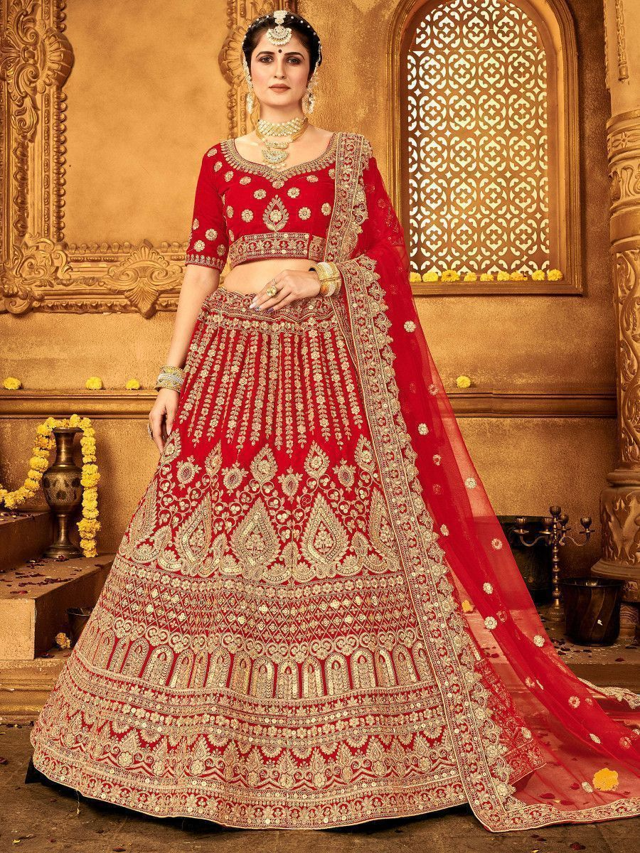 Red Stone Embroidered Velvet Bridal Wear Lehenga Choli