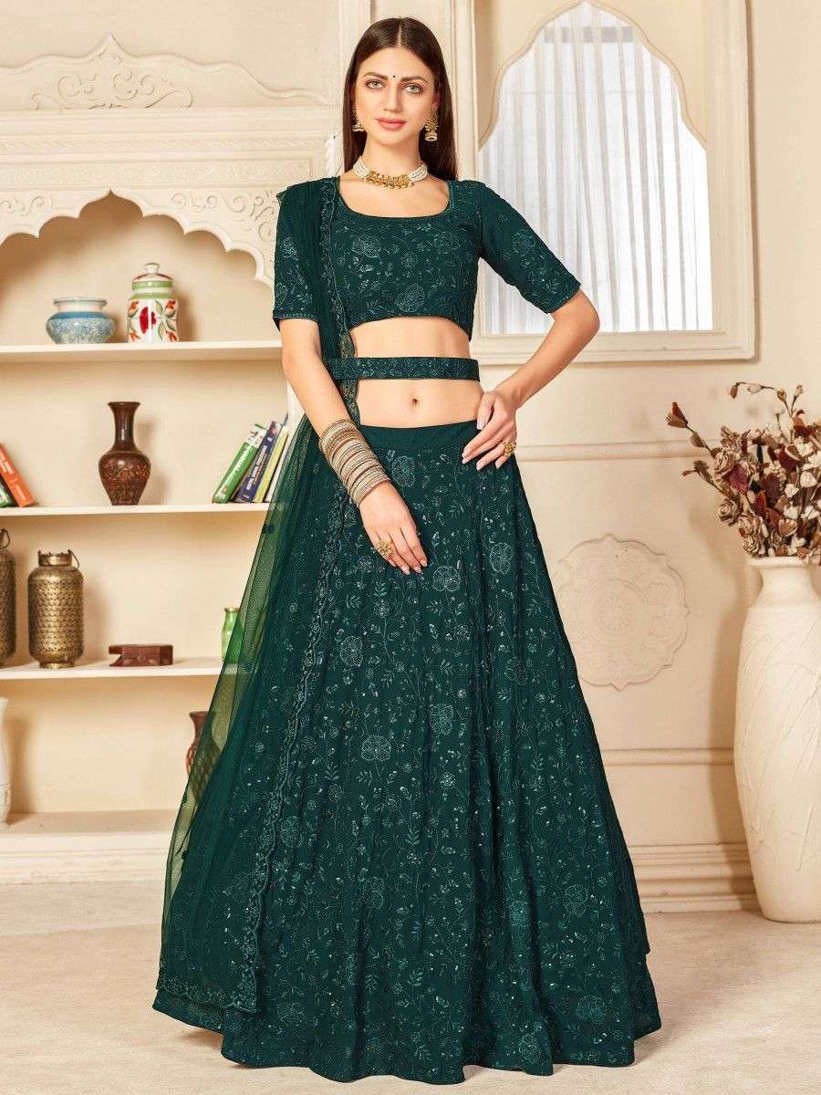 Green Thread Embroidered Georgette Party Wear Lehenga Choli