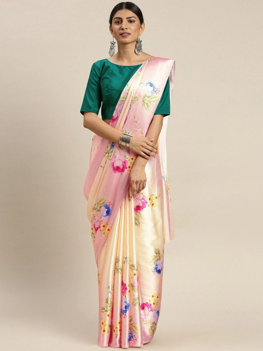 Peach-Coloured & Pink Satin Printed Block Print Myntra Saree