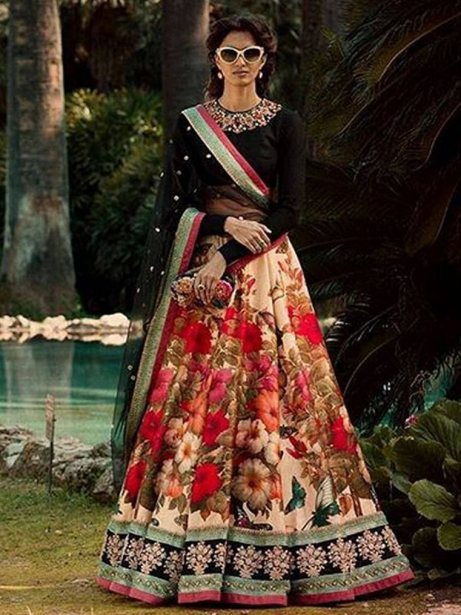 Colorful Floral Printed Velvet Blouse Wedding Lehenga Choli