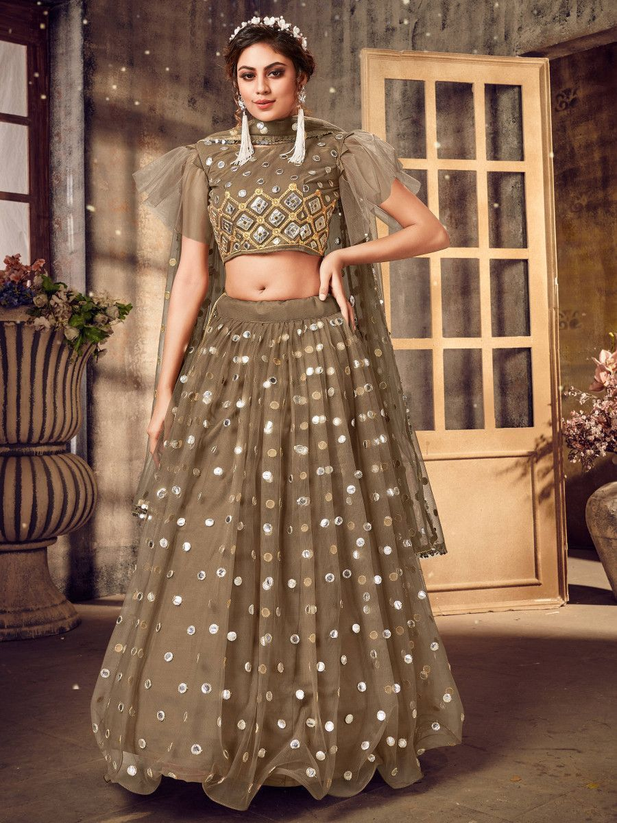 Brown Foil Mirror Soft Net Party Wear Lehenga Choli
