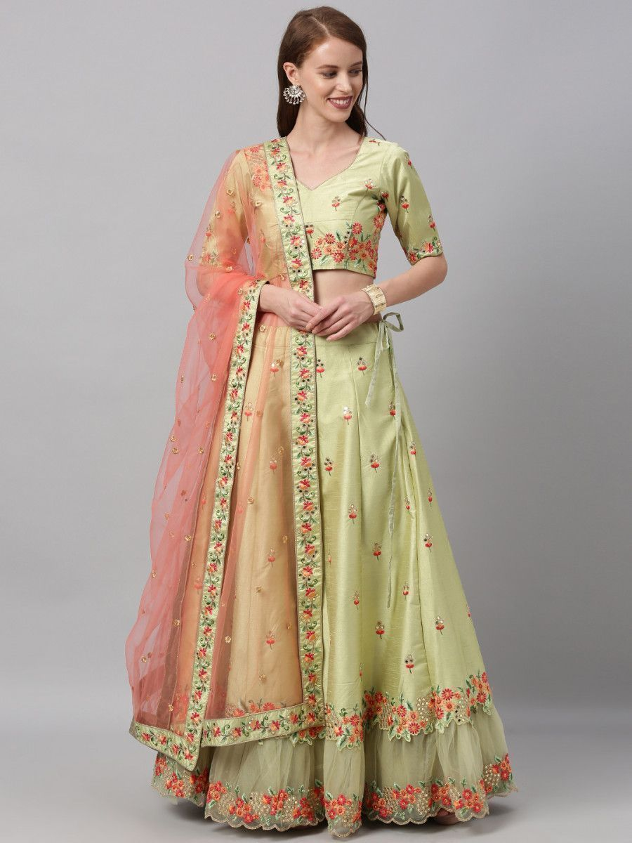 Green & Green Embroidered Semi-Stitched Myntra Lehenga & Unstitched Blouse with Dupatta
