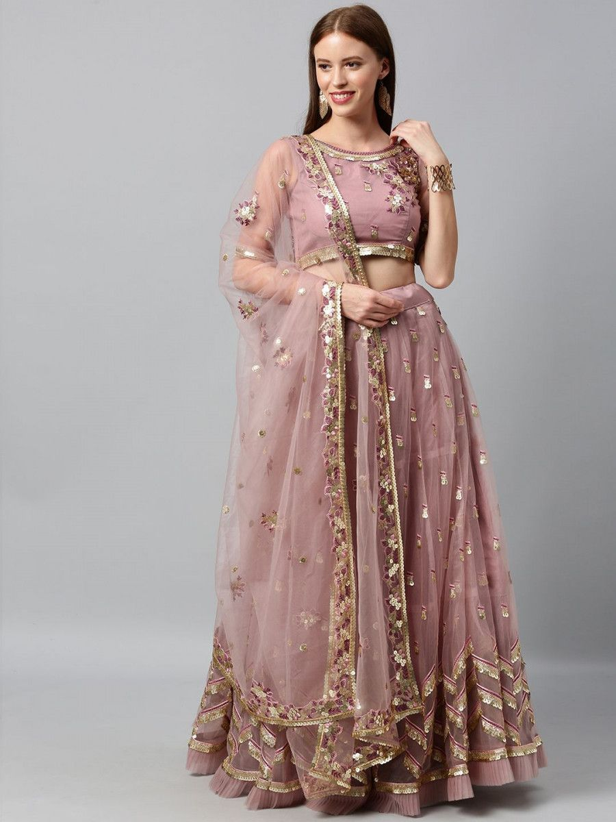 Mauve Sequinned Semi-Stitched Myntra Lehenga & Unstitched Blouse with Dupatta