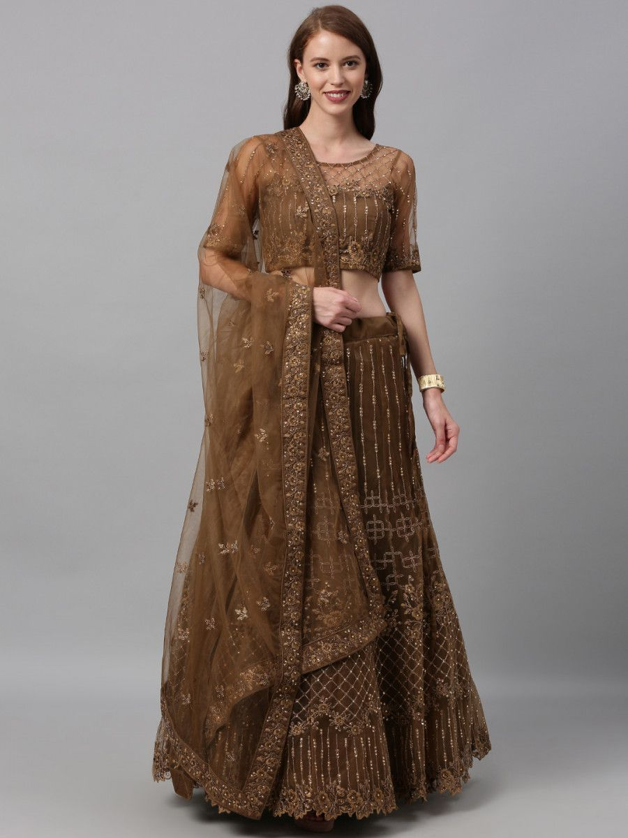 Brown Embroidered Semi-Stitched Myntra Lehenga & Blouse with Dupatta